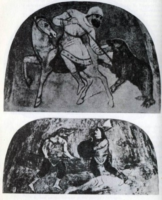 Bear Hunting. Fresco in the north section of the Cathedral of St Sophia in Kiev. 11th century. Two Mummers Fighting. Fresco in the north section of the Cathedral of St Sophia in Kiev. 11th century