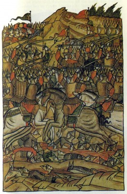 The Battle of Kulikovo in 1380. Illumination from The Illustrated Chronicle. 16th century. Academy of Sciences Library, Leningrad