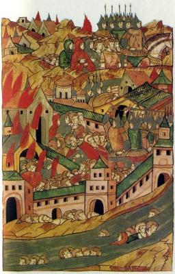 The Capture of Moscow by Khan Tokhtamysh in 1382. Illumination from The Illustrated Chronicle. 16th century. Academy of Sciences Library, Leningrad