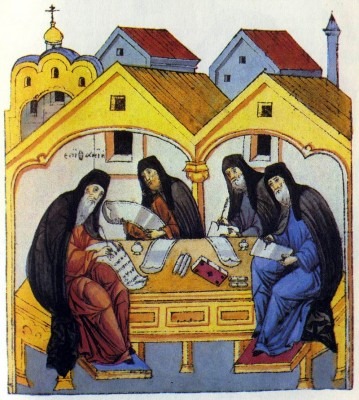Epiphanius the Most Wise Compiling the Life of St Sergius оf St. Sergius Radonezh. 16th-century illumination. State Lenin Library, Moscow